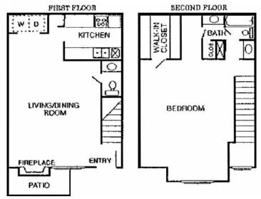 825 sq. ft. Oak floor plan