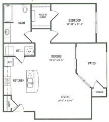 895 sq. ft. Bay Oak floor plan