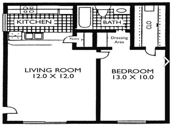 486 sq. ft. VP A0 floor plan