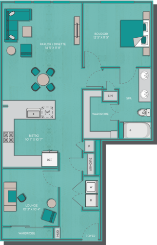1,068 sq. ft. Oahu floor plan