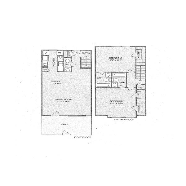 1,225 sq. ft. S floor plan