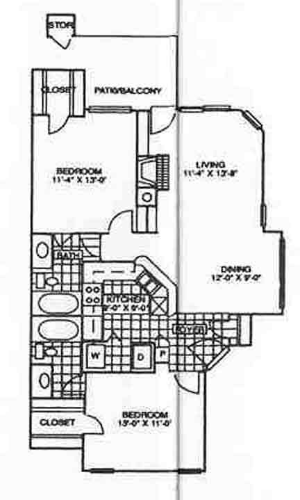 995 sq. ft. Dogwood floor plan