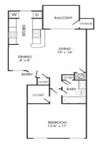 622 sq. ft. A2 floor plan