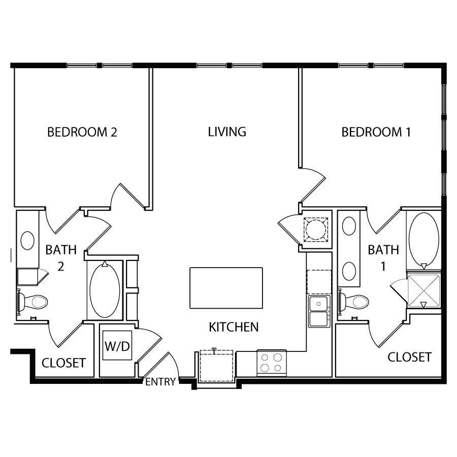 993 sq. ft. B2 floor plan