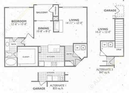 833 sq. ft. to 947 sq. ft. A3/A3A floor plan