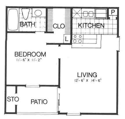 508 sq. ft. II A1 floor plan