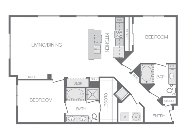 1,398 sq. ft. Q floor plan