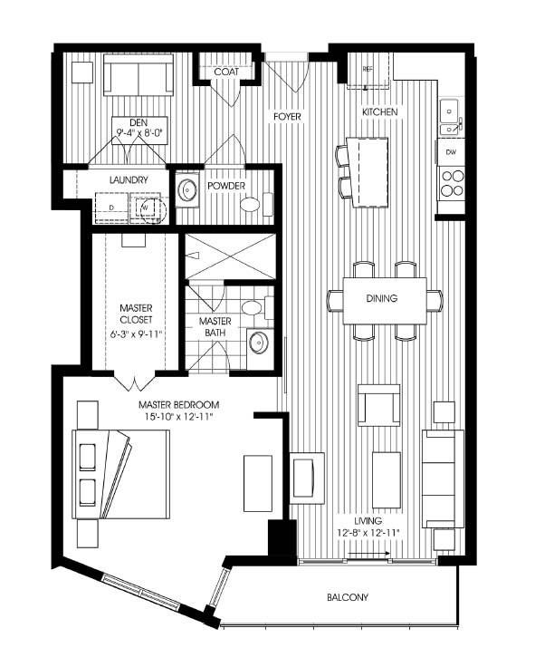 1,115 sq. ft. A5 floor plan