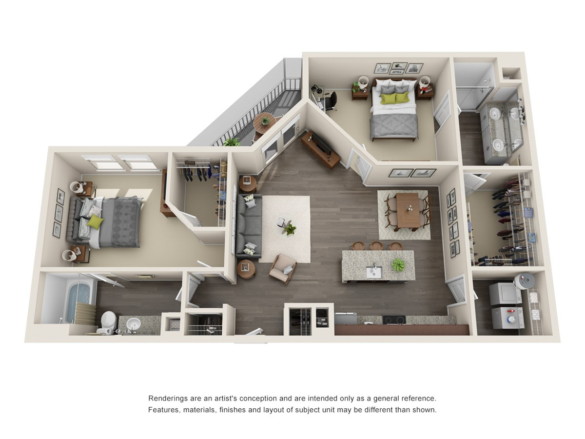 1,122 sq. ft. to 1,145 sq. ft. B2 floor plan