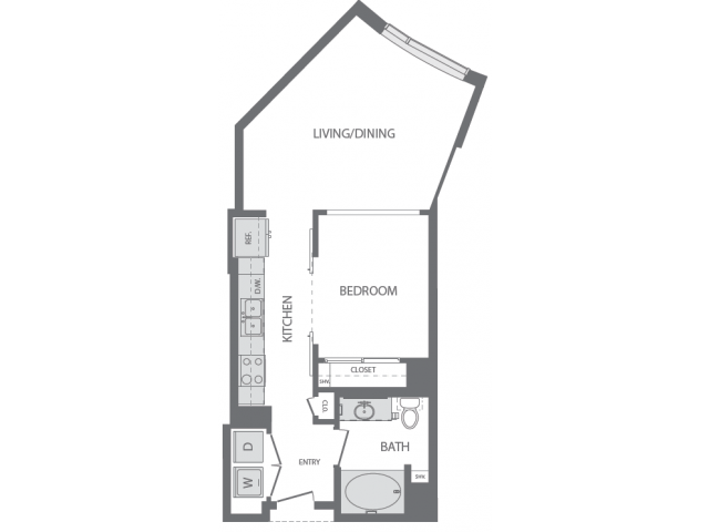 624 sq. ft. A floor plan