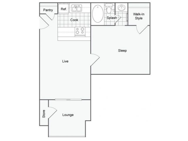 600 sq. ft. Rome floor plan