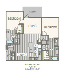 1,235 sq. ft. B4 floor plan