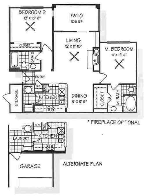 990 sq. ft. B1 floor plan