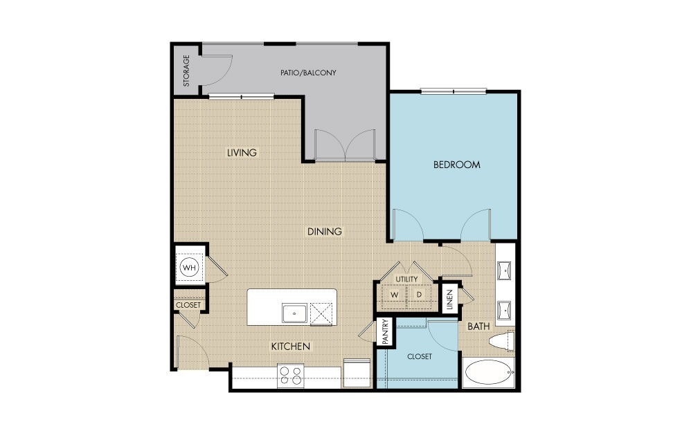 872 sq. ft. to 913 sq. ft. A5 floor plan