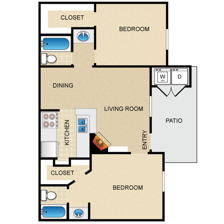837 sq. ft. floor plan