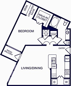 911 sq. ft. Cordoba floor plan