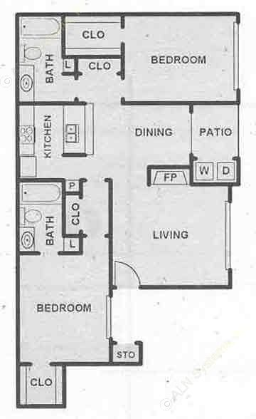 1,080 sq. ft. B1 floor plan