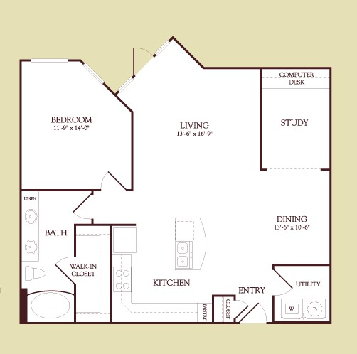 983 sq. ft. GAUGUIN floor plan