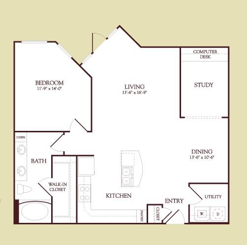 983 sq. ft. Gauguin floor plan
