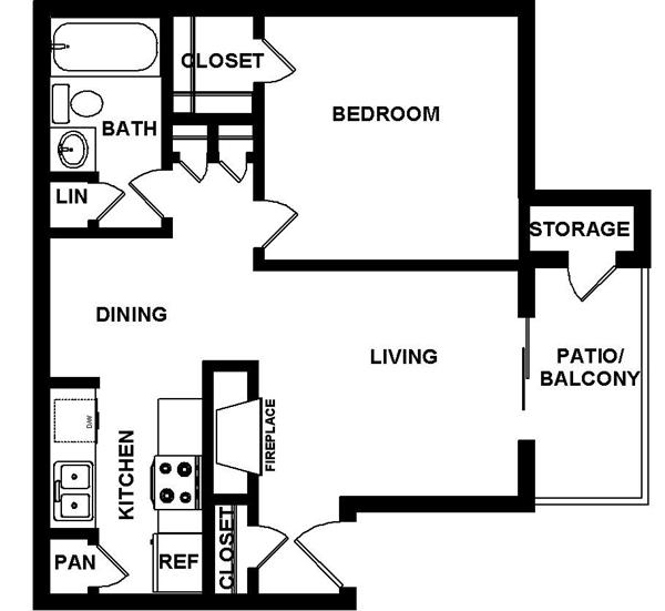 663 sq. ft. floor plan