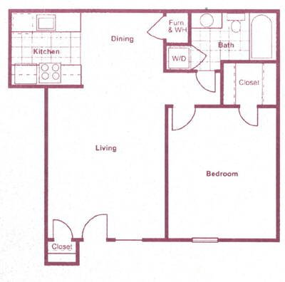 614 sq. ft. floor plan