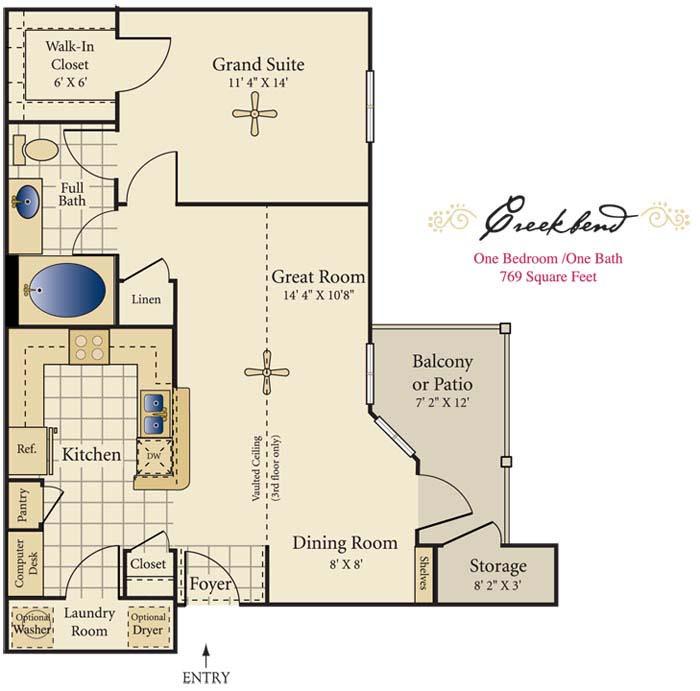 769 sq. ft. A floor plan