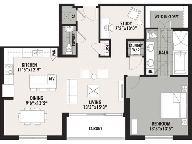 1,162 sq. ft. A13 floor plan