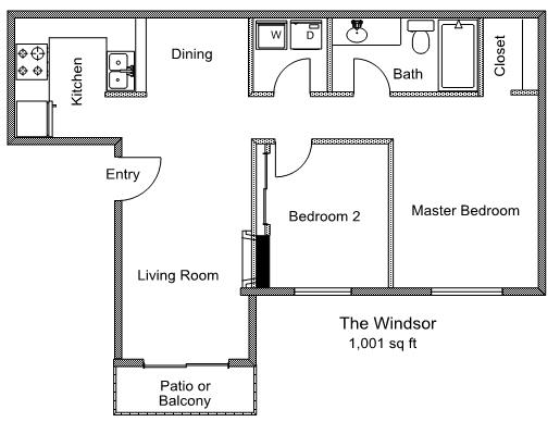 1,001 sq. ft. Windsor floor plan