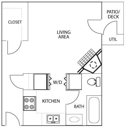 495 sq. ft. A4 floor plan