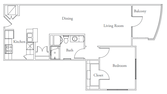789 sq. ft. Hyde Park floor plan