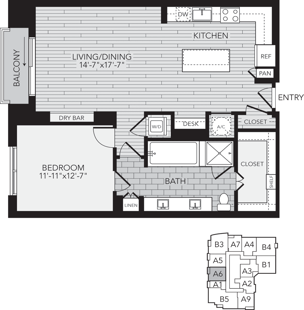 1,014 sq. ft. A6 floor plan