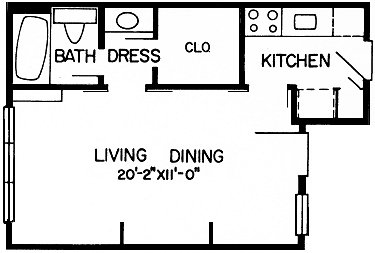 411 sq. ft. 2 floor plan