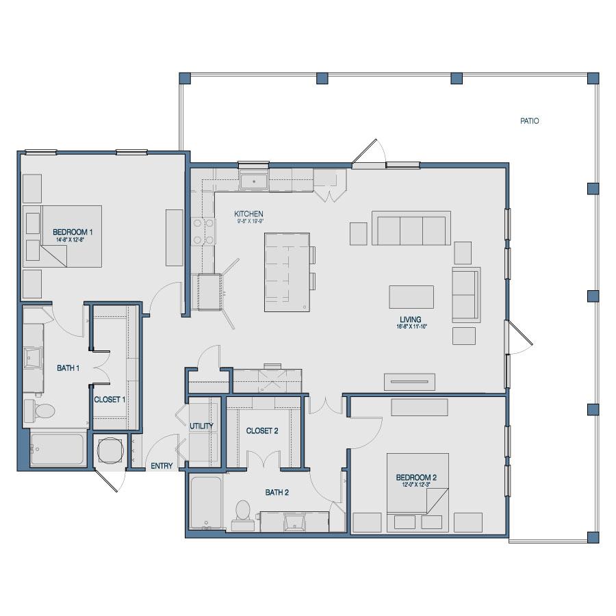1,377 sq. ft. B5 floor plan