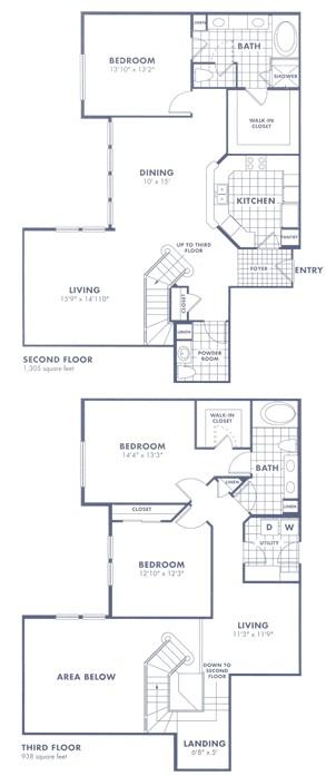 2,595 sq. ft. Townhome floor plan