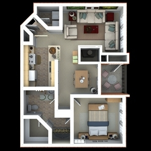 851 sq. ft. A7 floor plan