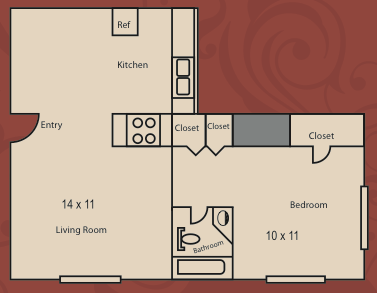620 sq. ft. to 650 sq. ft. A1 floor plan