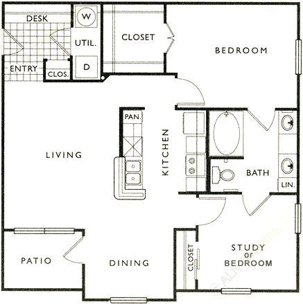 916 sq. ft. C floor plan
