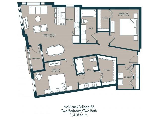 1,416 sq. ft. B6 floor plan