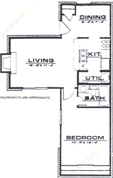 650 sq. ft. A1 floor plan