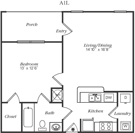 667 sq. ft. A1LG floor plan