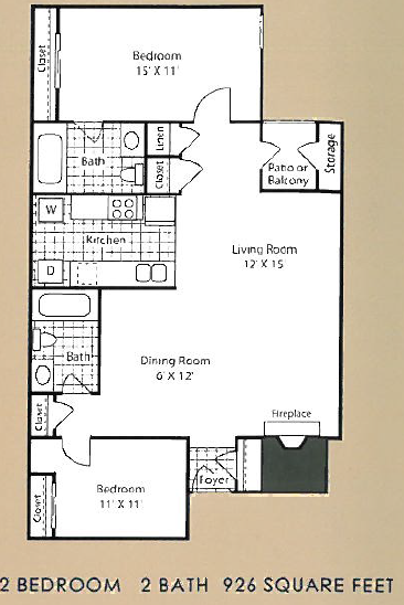 926 sq. ft. B2 floor plan