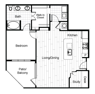 877 sq. ft. A7 floor plan
