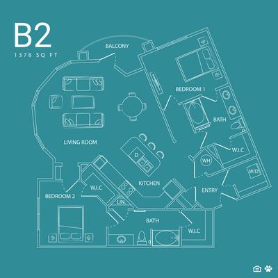 1,378 sq. ft. B2 floor plan