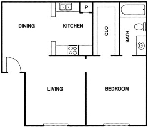 525 sq. ft. A floor plan