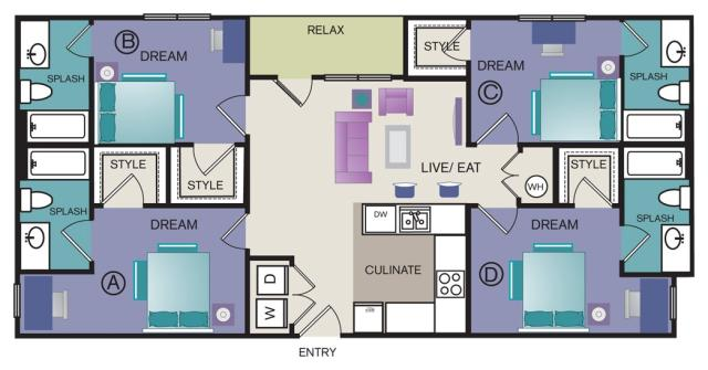 1,462 sq. ft. D1 floor plan