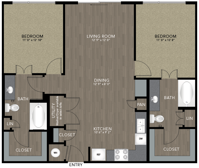 1,084 sq. ft. Stevens floor plan
