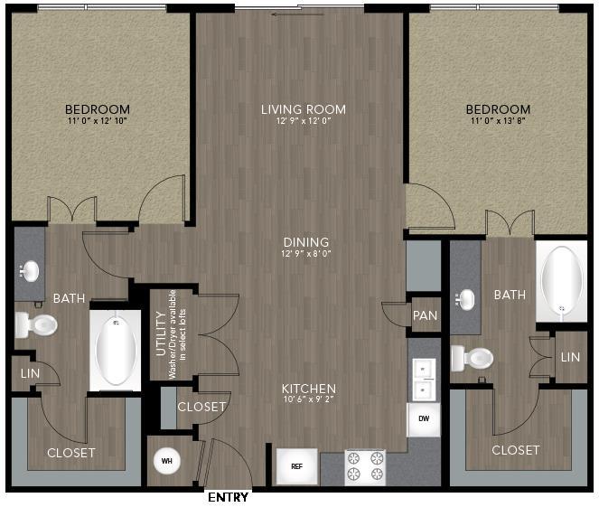 1,084 sq. ft. Stevens floor plan