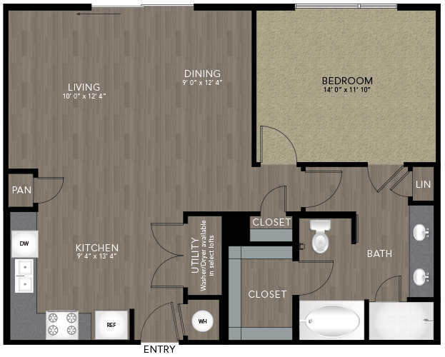 901 sq. ft. Armstrong floor plan
