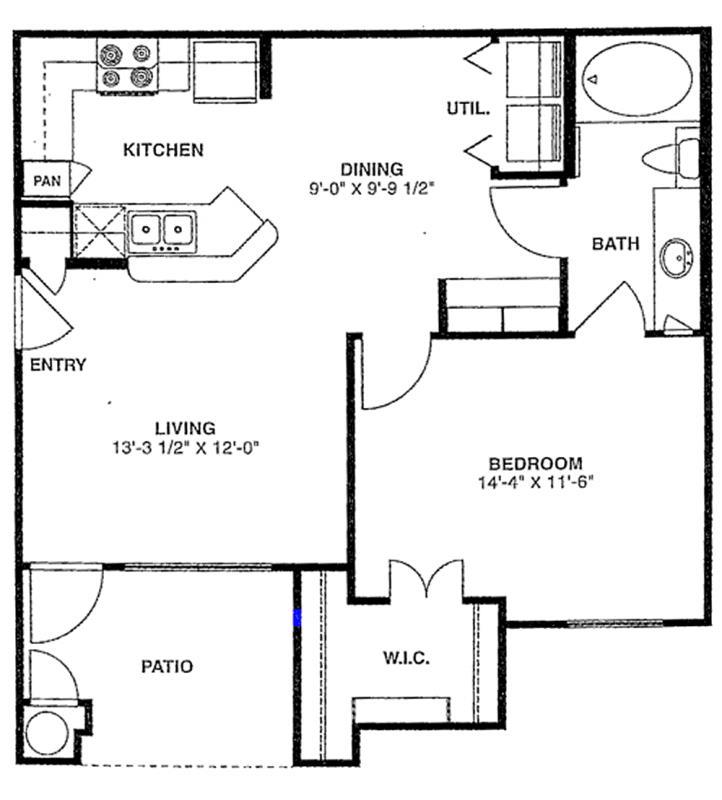 706 sq. ft. A/60% floor plan