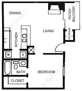 635 sq. ft. A3 floor plan